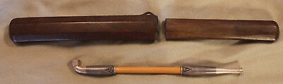Original Antique Vintage Chinese Tobacco Pipe Silver Engraved Tips w/Case