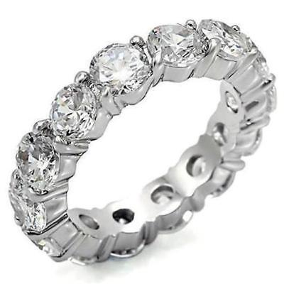 4 TCW .925 Sterling Silver Round CZ Eternity Bridal Wedding Ring Band Size 6.5