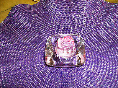 """CRYSTAL PINK ROSE IN A CLEAR GLASS BASE FIGURINE NEW SALE gift MOTHER""""S DAY"""