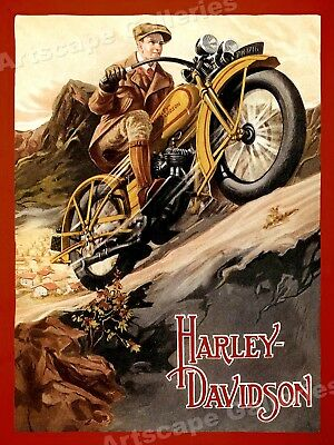 Harley Davidson Vintage Style 1920s Motorcycle Mountain Touring Poster - 18x24