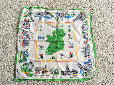 VTG Antique IRELAND SOUVENIR HANDKERCHIEF hankie castles Church famous landmarks