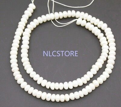"""5.5mm Rondelle Natural White Pearl Loose Beads 15""""  Long Necklace Making"""