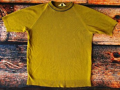 Vintage Mod 1960s Green Ringer Acrylic Knit Mens Hipster Sweater Shirt Indie M