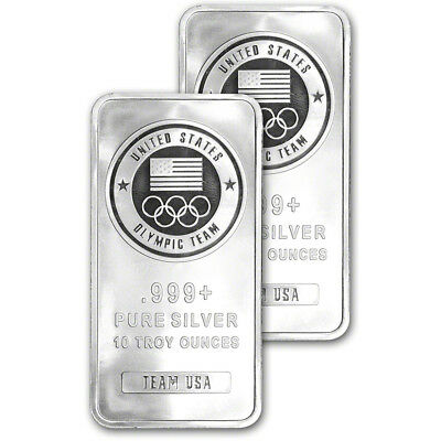 TWO (2) 10 oz. Silver Bar - US Olympic Committee Team USA - 999 Fine - Sealed