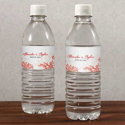 60 Reef Coral Beach Theme Water Bottle Labels Bridal Shower Wedding Favors