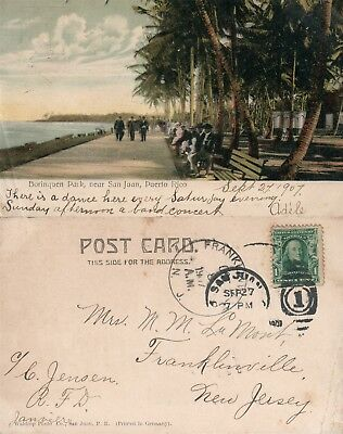 SAN JUAN PUERTO RICO BORINQUEN PARK ANTIQUE 1907 POSTCARD w/ CORK CANCEL