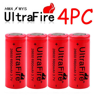4 x Ultrafire 3.7V Lithium 6800mAh 26650 Rechargeable Battery For Led Flashlight