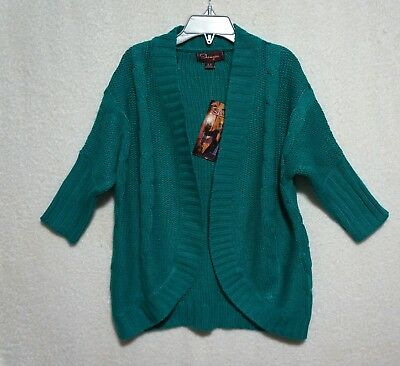 SHAMPOO Girls Sz 5 6 School Sweater Drop Shoulder Green Open Front NWT