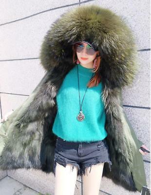 Women Large Real Raccoon Fur Collar & Lined Coat Winter Long Parka Warm Jacket