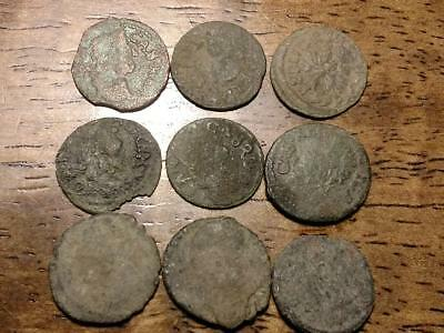 Lot of 9 Uncleaned Medieval Coins from Poland and Lithuania, 1659-1668