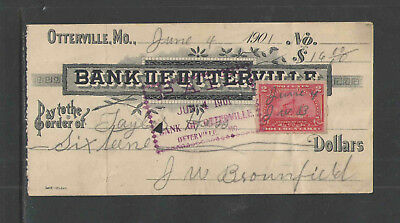 1901 BANK OF OTTERVILLE MO w/ REVENUE STAMP ANTIQUE BANK CHECK