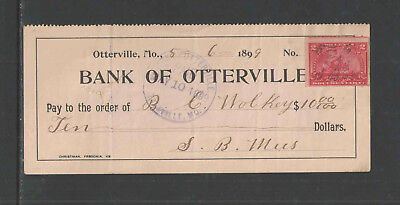 1899 BANK OF OTTERVILLE MO w/ REVENUE STAMP ANTIQUE BANK CHECK VAR #2