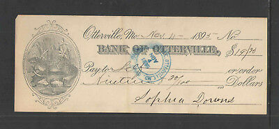 1895 BANK OF OTTERVILLE MO w/ FANCY BEAVER VIGNETTE ANTIQUE BANK CHECK