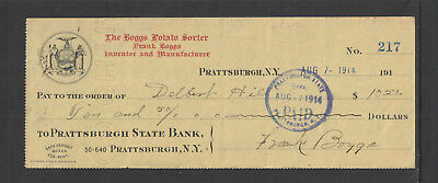 1914 Boggs Potato Sorter Prattsburgh State Bank Ny Antique Bank Check