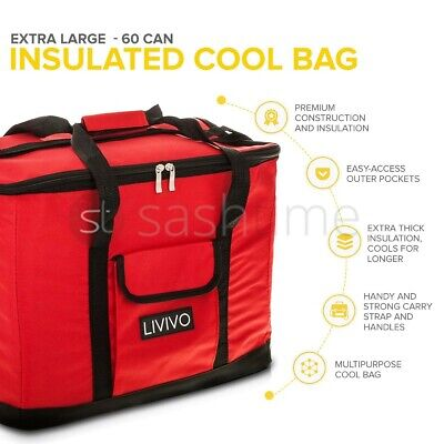 Extra Large 60 Can 30L Insulated Can Cool Bag Cooler Picnic Drinks Carrier Tote