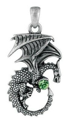 Dragon with Sparkling Green Stone Pewter Pendant Necklace Fantasy Jewelry New