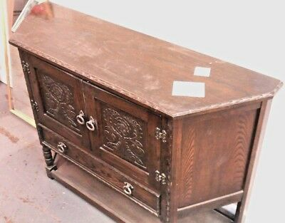 Vintage Tudor Style Solid Oak Dark Wood Hall Table / Sideboard  - W66