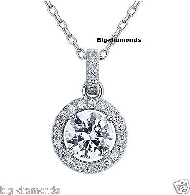 "14K Gold~925 Sterling Silver Fancy Solitaire Round Diamond Pendant  17"" Necklace"