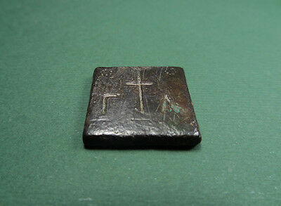 Ancient Bronze Weight Cross & Letters Byzantine 400-600 Ad