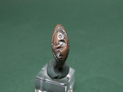 Greco-Roman Bronze Ring Engraved Seated Aphrodite (?) 200 Bc-100 Ad