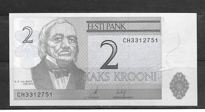 ESTONIA #85a UNCIRCULATED 2006 2 KROONI CURRENCY BANKNOTE BILL NOTE PAPER MONEY