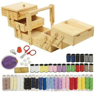 68pc Sewing Kit Wooden Sewing Box Set Shabby Chic Design Home Needle Thread Tape