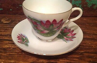 Vintage July Water Lily Cup and Saucer Set, Wills Waseca Japan