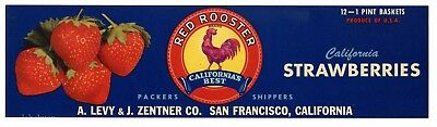 RED ROOSTER Brand, Strawberry Levy Zentner *AN ORIGINAL PRODUCE CRATE LABEL* N01