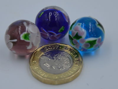 New 3 Handmade Blue Brown & Purple  Flower Pattern Wysteria Plus Glass Marbles 1