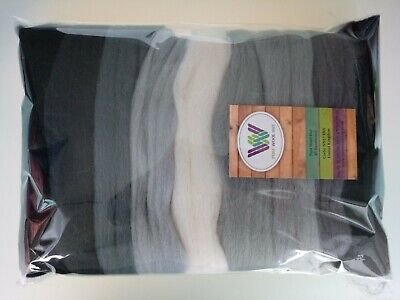 Grey set* Pure Wool Tops for Felting, Packs of 9 Colours, 90g