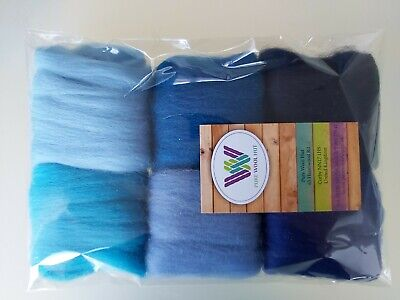 Blue* Pure Wool Tops for Felting 6 colours set, 30g