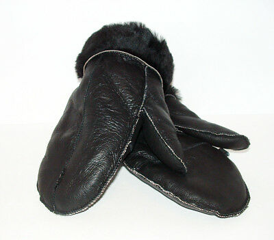NEW HANDMADE MENS Black REAL SHEARLING SHEEPSKIN MITTENS MITTS GLOVES SIZE L