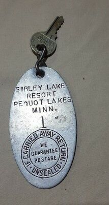 Vintage Hotel Key 7 Mail Back Fob Pequot Lakes Minnesota - Sibley Lake Resort