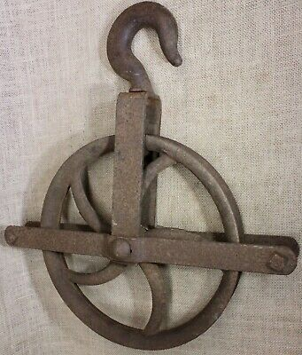 "11"" wheel old well pulley heavy duty hook vintage barn rustic iron industrial"