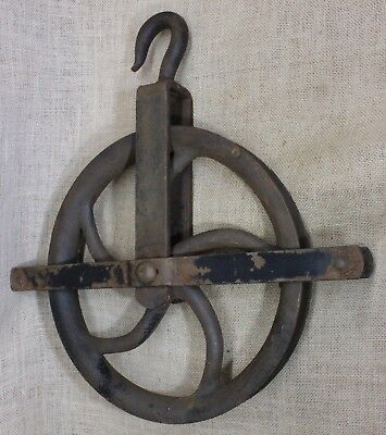 "LARGE 12"" wheel well pulley old heavy duty iron barn rustic vintage industrial"