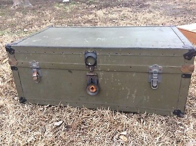 Vintage Military Foot Locker Wood Metal with Wood Insert Tray army trunk chest