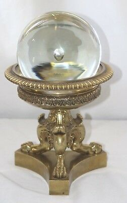 Antique Murano Crystal Glass Ball On Brass Triple Footed Brass Stand