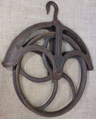 "Well Pulley old LARGE 10"" wheel rustic iron fender hay vintage 1800's antique"