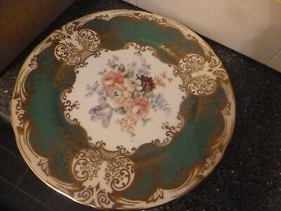 """Crown Staffordshire Hand Painted 10.5"""" Floral China Plate Signed J T Jones"""