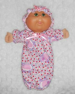 "Doll Clothes - Fit 11"" Cabbage Patch Newborn Doll - Pink Pig Sleep Sack Set"