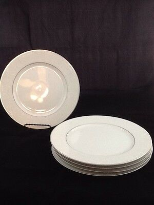 "SET OF 5 CARLTON PLYMOUTH DINNTER PLATES White Scroll 10.5"" JAPAN"