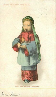 1906 Belle of Chinatown Ethnic Chinese Girl Child undivided postcard 12517