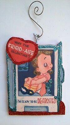Vintage Valentine S Day Card Glitter Wood Ornament It S No Fish Tale