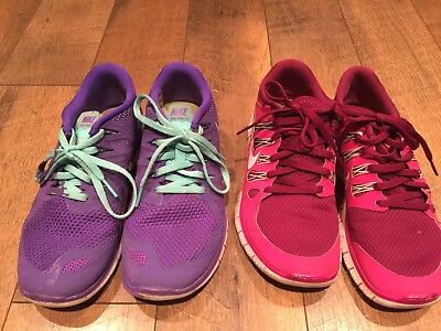 Lot Of 2 Womens Nike Free 5.0 Gym Shoes Pink Purple Size 7