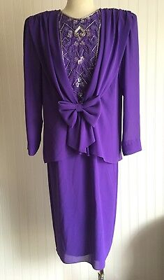 VINTAGE 1980's LAVENDER Purple BEADED Sequins FORMAL Party DRESS By URSULA 36 38