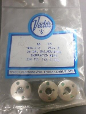 Vector W36-3-A 36AWG Solid Solder-Thru Insulated Wire, 3 Spools of 250', Green