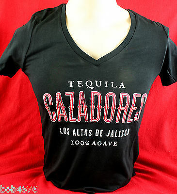 Brand New CAZADORES Tequila Black LADIES Woman's V-Neck MED T Shirt --- LOOK