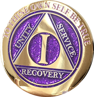 1 Year AA Medallion Elegant Glitter Purple Gold Plated Sobriety Chip Coin One