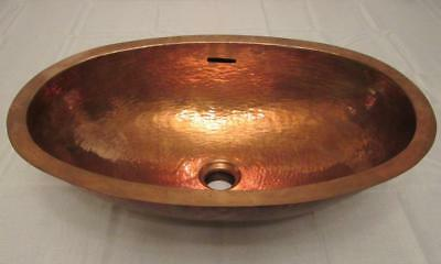"""Vtg. Copper Oval Sink Hand Hammered Arts & Crafts Style 21"""" x 14"""" x 7.25"""" tall"""