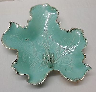 Fancy Leaf Serving Dish Vanity Sea Green California Pottery Gold Accents Vintage